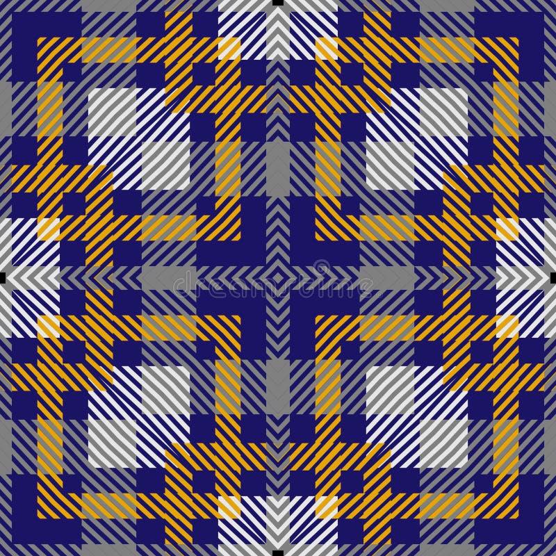 Gestreept vectorgeruit schots wollen stof naadloos patroon De sierachtergrond van de strepenplaid Geometrisch herhaal achtergrond stock illustratie
