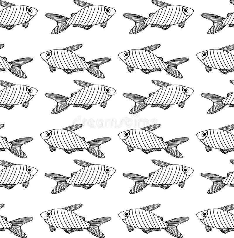 Gestreept zwart vissenpatroon op witte achtergrond vector illustratie