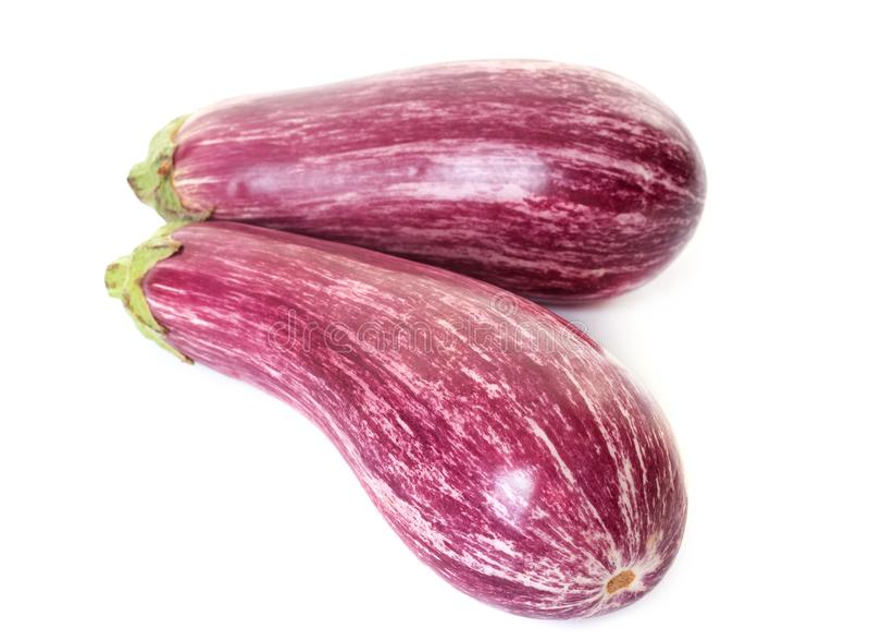 Gestreepte aubergine in studio stock foto's