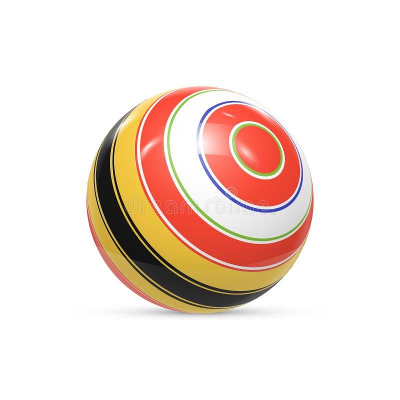 Gestreepte bal 3d Gebied met Textuur Bal op witte achtergrond wordt geïsoleerd die Vector vector illustratie