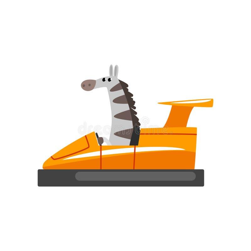 Gestreepte Berijdende Bumperauto, Grappig Aanbiddelijk Dierlijk Karakter die Voertuig Vectorillustratie gebruiken vector illustratie