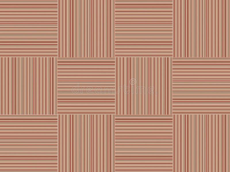Gestreepte de textuur houten vierkante ineengestrengelde achtergrond van het vernisjepatroon, bruine basis stock illustratie
