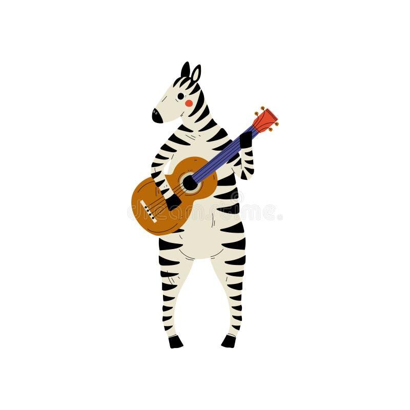 Gestreepte het Spelen Gitaar, Leuke Muzikale het Instrumenten Vectorillustratie van Character Playing Acoustic van de Beeldverhaa stock illustratie