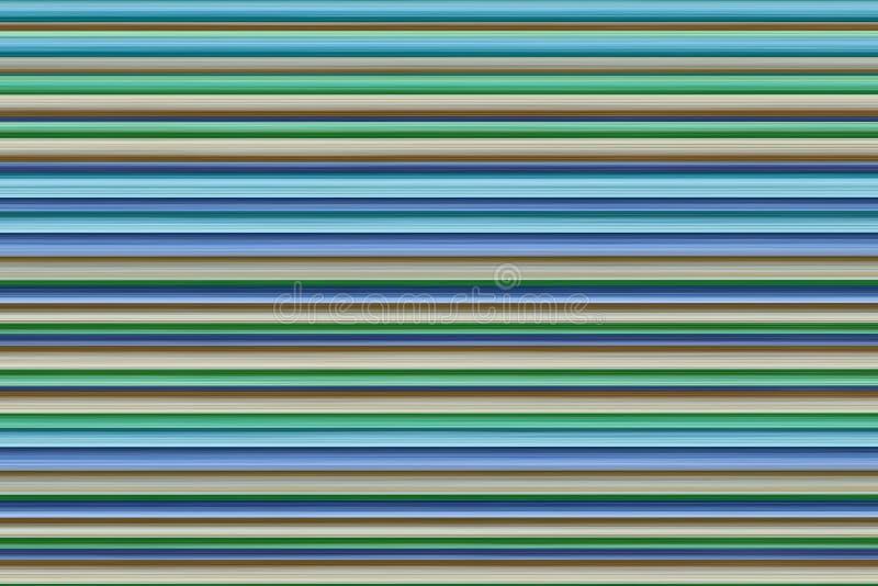 Gestreepte horizontale het ontwerpkunst van de achtergrond blauwe lilac beige groene strepen kleurrijke basis stock afbeelding