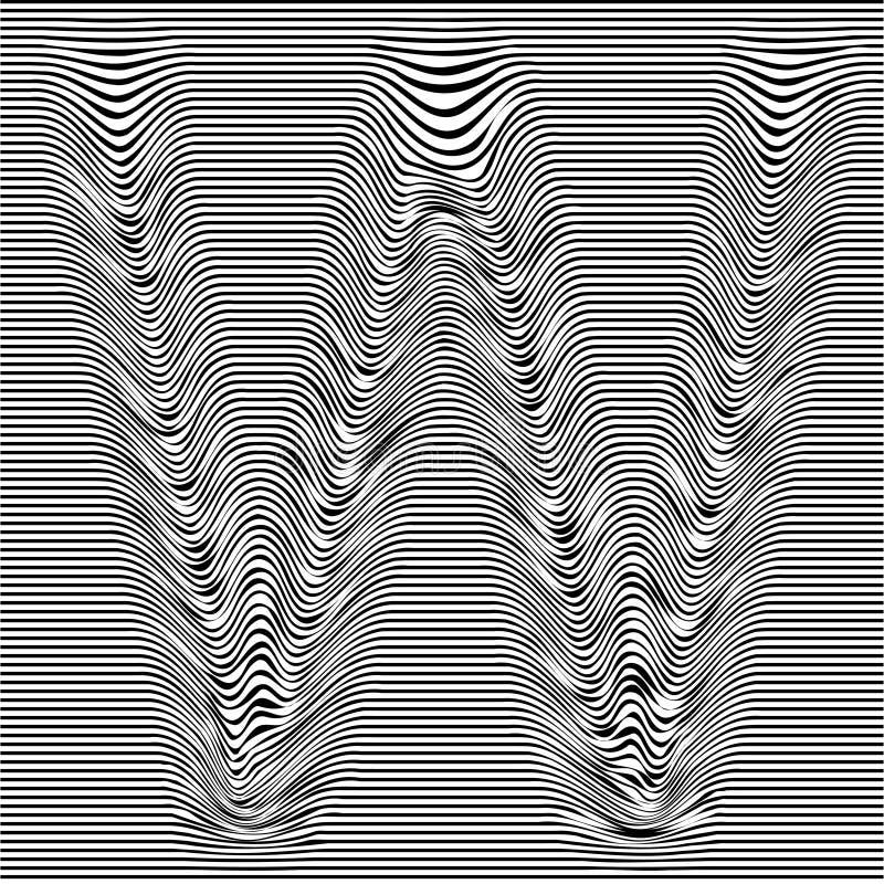 Gestreepte lettersoort met geometrische patroonbrief W van een Latijnse doopvont Het vector van letters voorzien met glitch effec stock illustratie