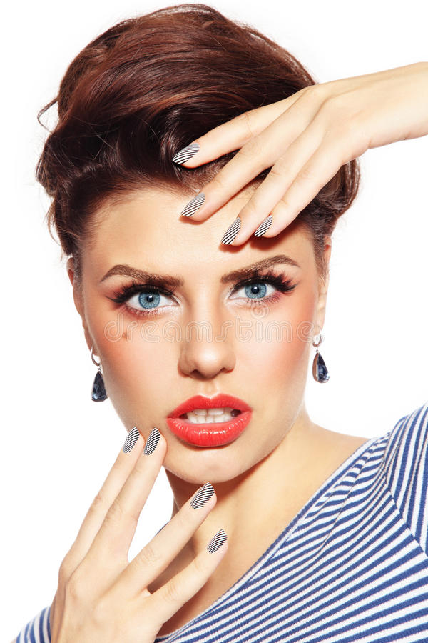 Gestreepte manicure stock fotografie