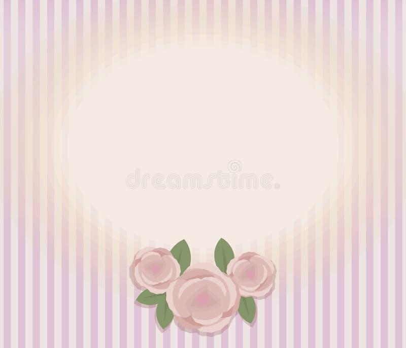 Gestreepte retro uitstekende kaart met samenstelling van drie roze rozen en bladeren, ovaal horizontaal licht gebied voor etikett royalty-vrije illustratie