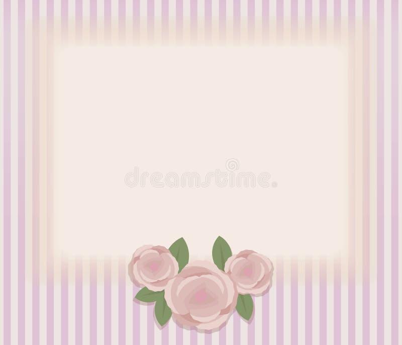 Gestreepte retro uitstekende kaart met samenstelling van drie roze rozen en groene bladeren, rechthoekig horizontaal licht gebied royalty-vrije illustratie