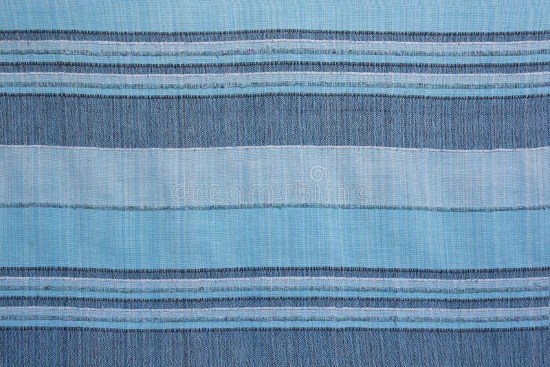 gestreepte textuur van blauwe natuurlijke binnenlandse stof royalty-vrije stock afbeelding