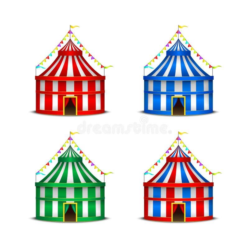 Gestreepte van van het het Symboolvermaak, Festival of Carnaval van de Circustent Reeks Vector stock illustratie