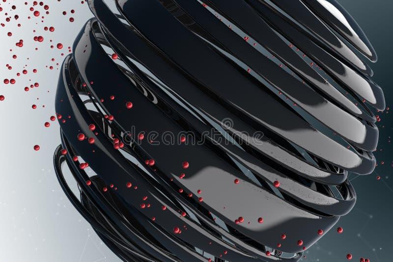 gestreifte dekorative Bälle 3D stock abbildung