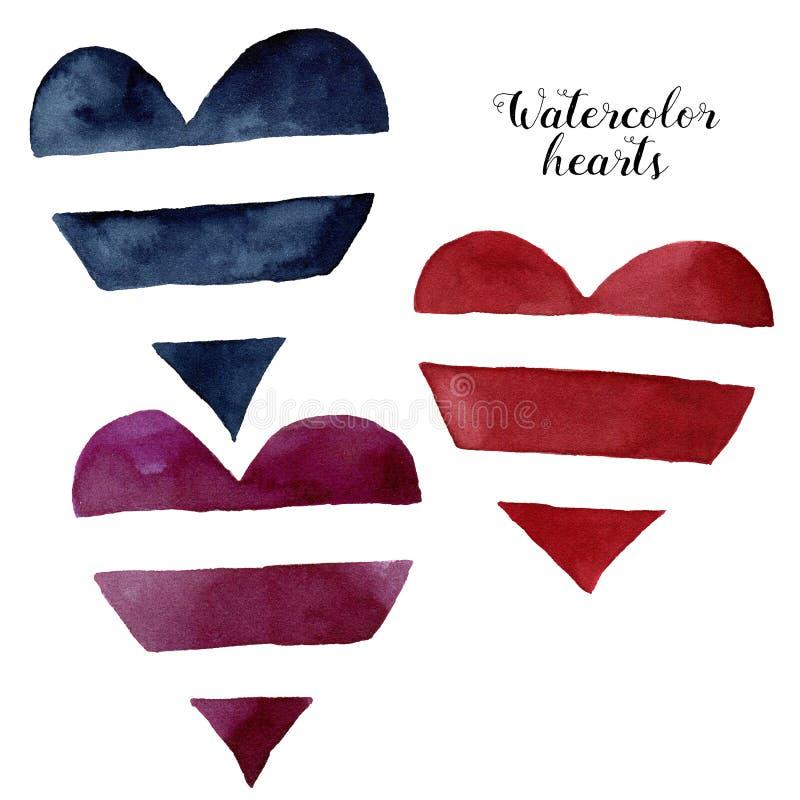 Gestreifte Herzen des Aquarells Handgemaltes Symbol der Liebe lokalisiert auf weißem Hintergrund Valintine-` s Tagesillustration  lizenzfreie abbildung