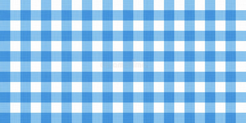 Gestreifte karierte umfassende Tischdecke des Vektorginghams Nahtloser weißer blauer Tischdeckeservietten-Musterhintergrund mit n vektor abbildung