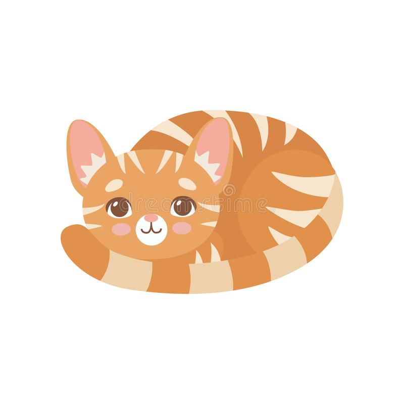 Gestreifte lustige rote Cat Lying Curled Up, nette Kitten Animal Pet Character Vector-Illustration stock abbildung