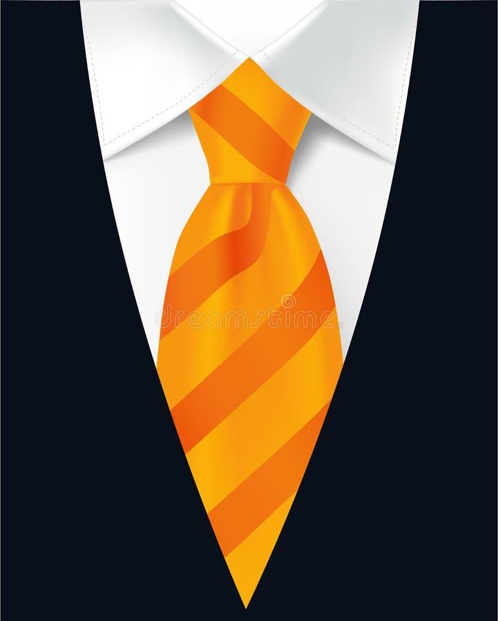 Gestreifte orange Bindung, weißes Hemd und der Anzug der Männer stock abbildung
