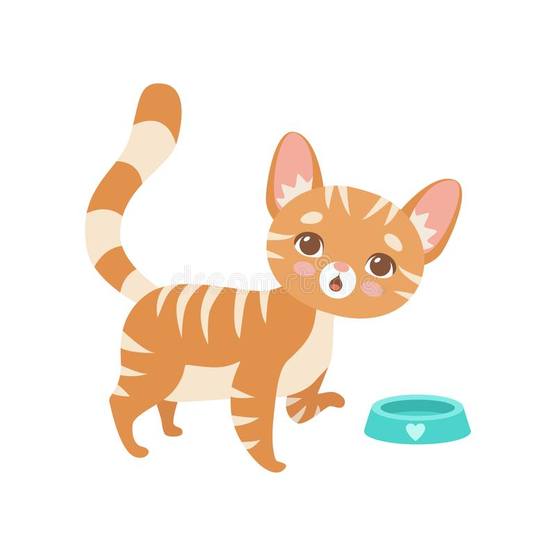 Gestreifte rote Cat Eating, nette Kitten Animal Pet Character Vector-Illustration vektor abbildung