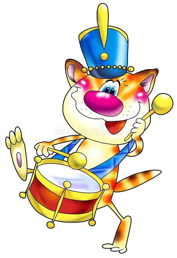 Gestreifte rote Katze mit einer Trommel innen stock abbildung