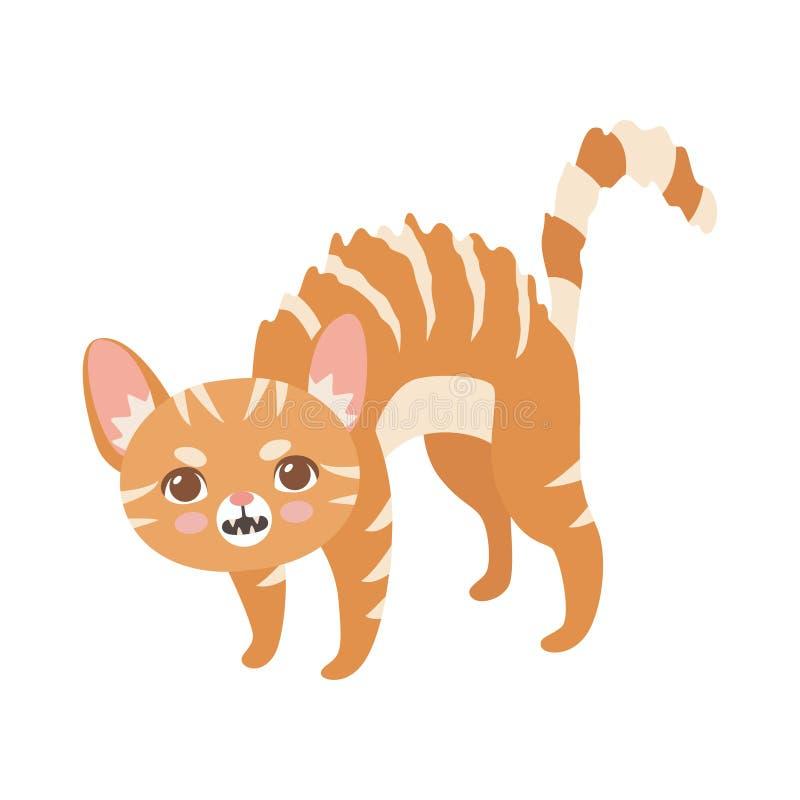Gestreifte rote Katze, nette Kitten Animal Pet Character in bedrohender Haltungs-Vektor-Illustration lizenzfreie abbildung