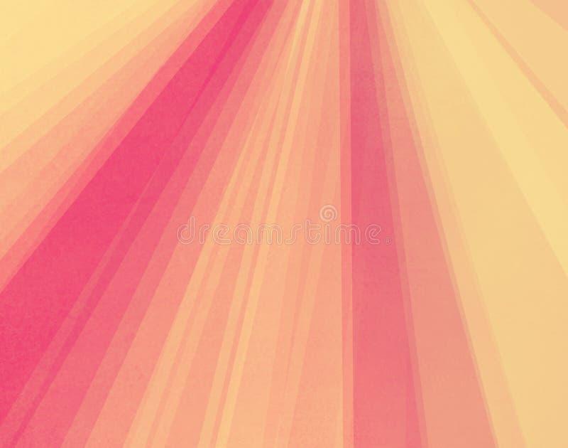 Gestreifte Schichten von weichem rosa Gelbem und orange in hübschem starburst oder Sonnendurchbruchhintergrund lizenzfreie abbildung