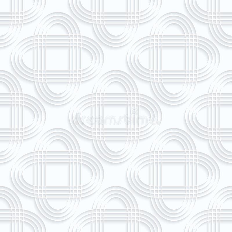 Gestreifte schneidene Ovale des Weißbuches der Rüschen vektor abbildung