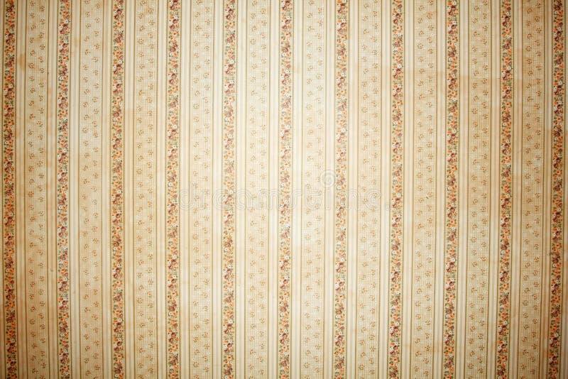 Gestreifte Tapete der Weinlese mit Blumenmusterhintergrund stockfoto