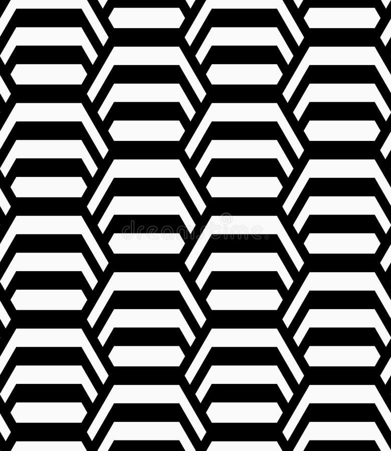 Gestreifte vertikale Schwarzweiss-Hexagone stock abbildung