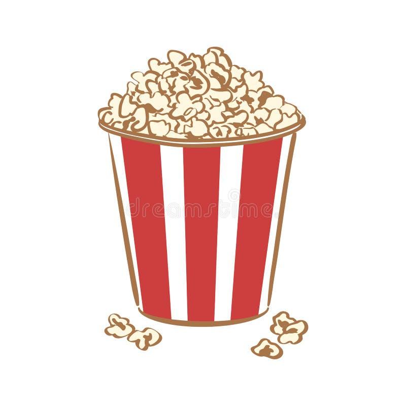 Gestreifter Eimer voll Popcorn stock abbildung