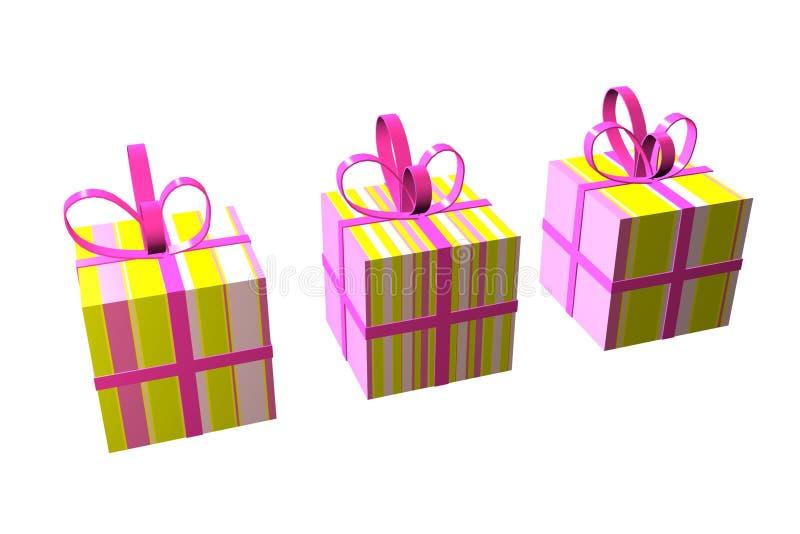 Gestreifter Geschenkkasten stock abbildung