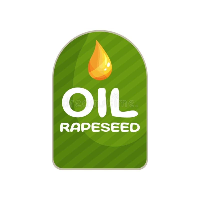 Gestreifter grüner Aufkleber für Flasche des Pflanzenölproduktes vom Rapssamen Flaches Vektoremblem mit Tropfen der Flüssigkeit v lizenzfreie abbildung