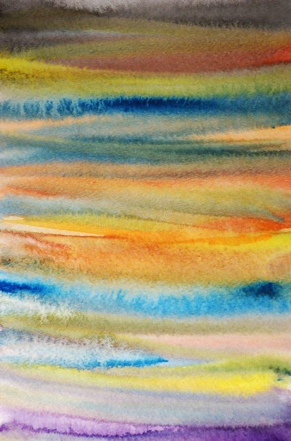 Gestreifter handgemalter Kunsthintergrund des Aquarells stock abbildung