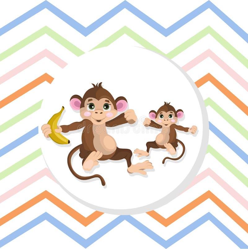 Gestreifter Hintergrund der glücklichen Affe-Vektorillustration vektor abbildung