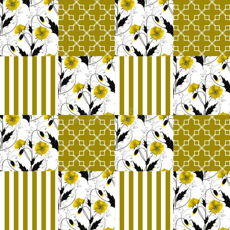 Gestreifter Hintergrund Patchworkdes nahtlosen Blumenmohnblumen-Musters stock abbildung