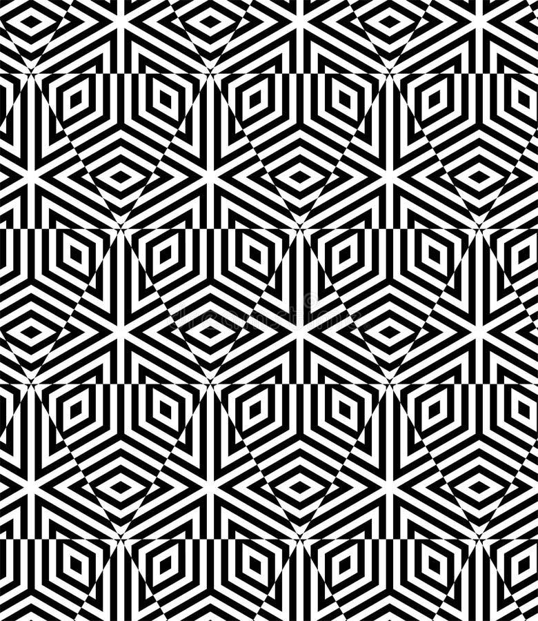 GESTREIFTER WÜRFEL-NAHTLOSER MUSTER-VEKTOR Geometrischer einfarbiger Hintergrund OPTIKkunst DESING stock abbildung