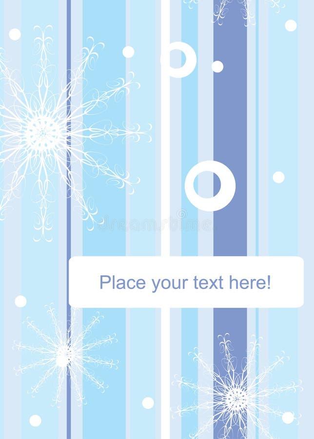 Gestreifter Winterhintergrund mit Schneeflocken stock abbildung