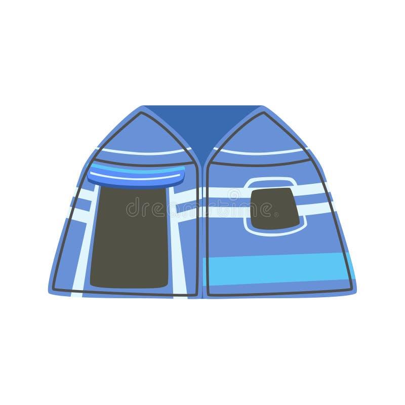 Gestreiftes blaues helles Farbplanen-Zelt stock abbildung