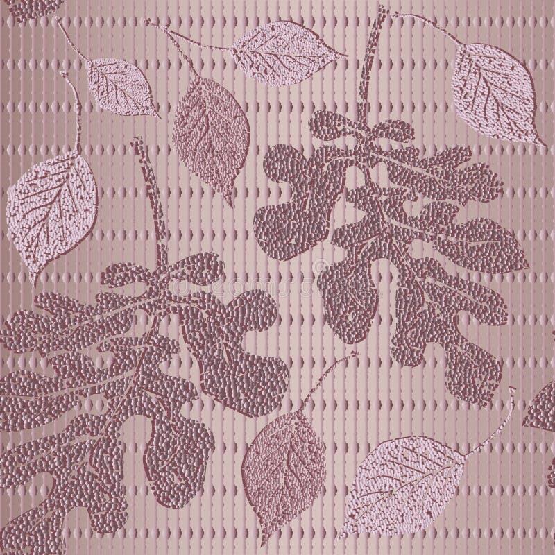Gestreiftes 3d maserte nahtloses Muster Vektor stieg Goldbelaubter Hintergrund Wiederholungsblumenhintergrund Schmutzglittery Obe vektor abbildung