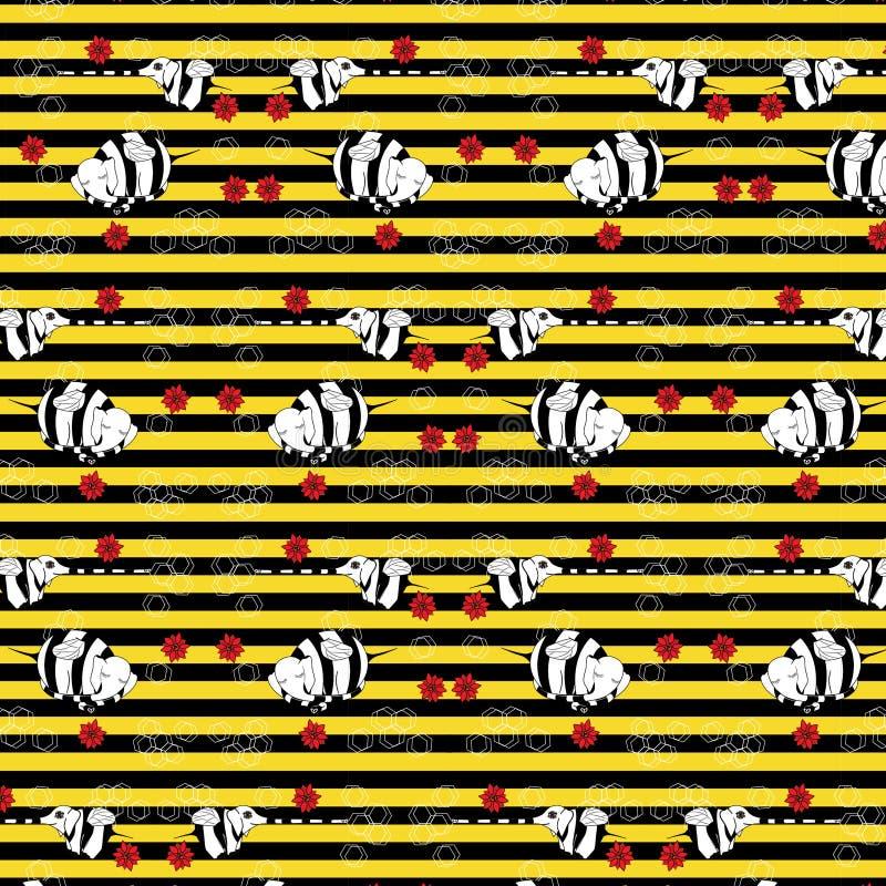 Gestreiftes Muster mit den reizenden Animationsmutanten des Bildes von Elefantbienen stockfotos