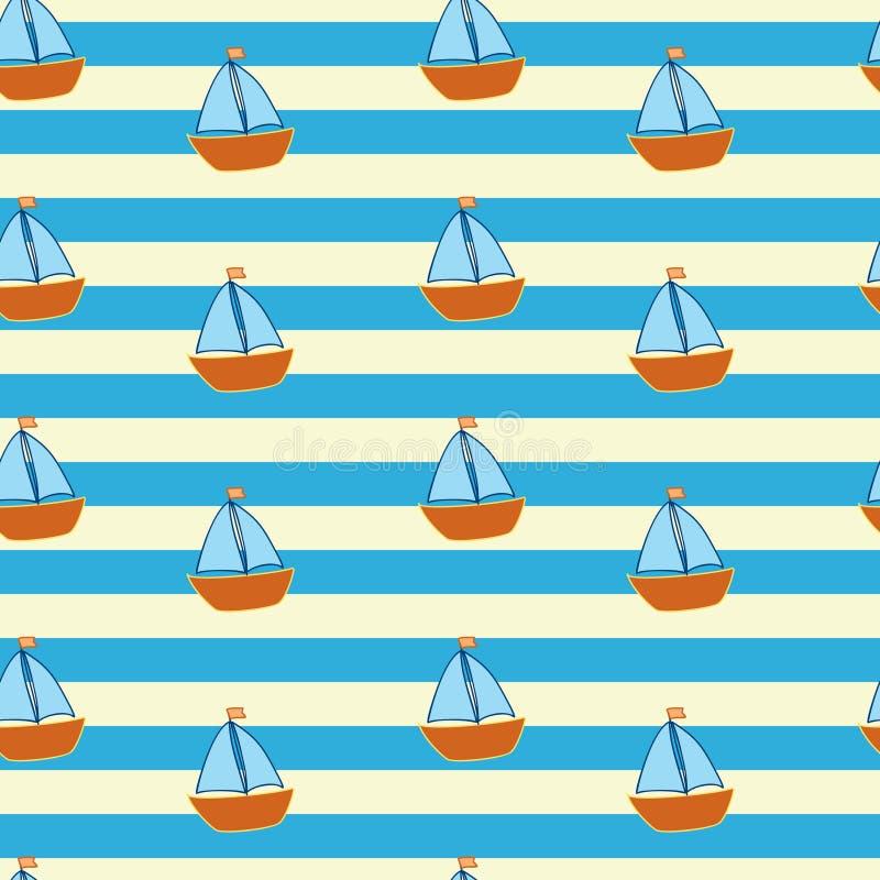 Gestreiftes Muster mit wenigen Schiffen lizenzfreie abbildung