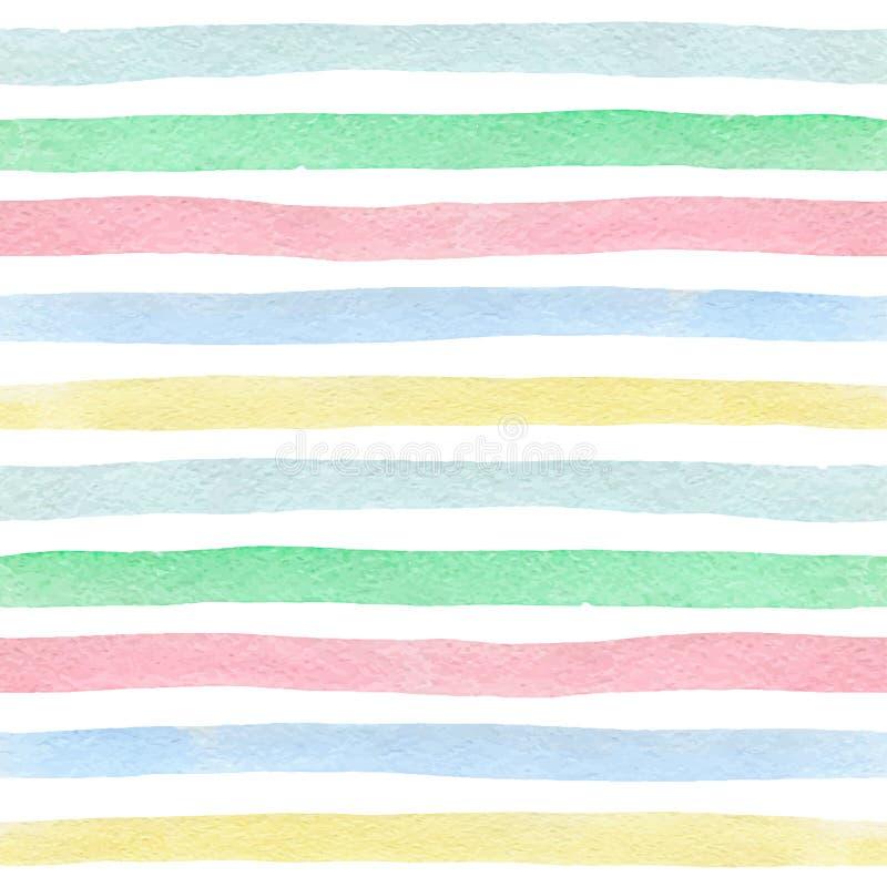 Gestreiftes nahtloses Pastellmuster des Aquarells stock abbildung