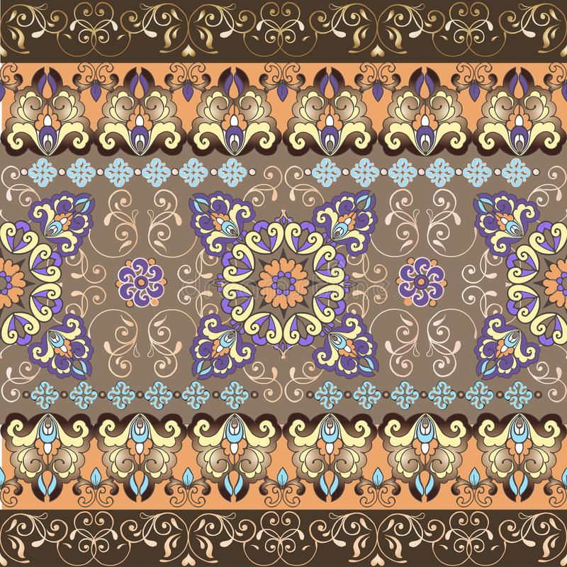 Gestreiftes orientalisches nahtloses Muster Pastellmuster mit Goldgrenze Dekorative Verzierung für Gewebe, Gewebe, wickelnd ein stock abbildung