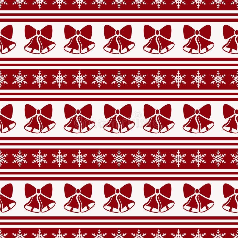 Gestreiftes Weihnachtsmuster mit Glocken Vektornahtloser Hintergrund stock abbildung