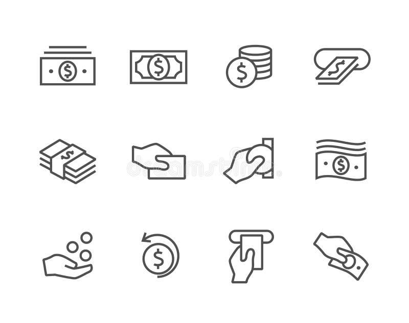 Gestreken geplaatste Geldpictogrammen. royalty-vrije illustratie