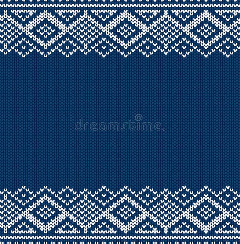 Gestrickte blaues Weihnachtsgeometrische Verzierung Winter nahtloser Knithintergrund Weihnachtsstrickjacken-Beschaffenheitsdesign stockbild