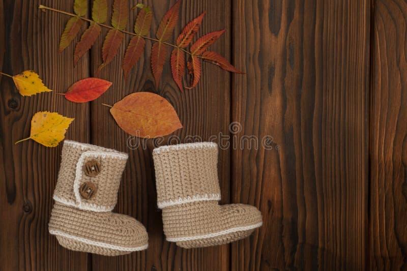 Gestrickte Kleidung auf Herbst gefallenem hölzernem Hintergrund der mehrfarbigen Blätter stockfotos