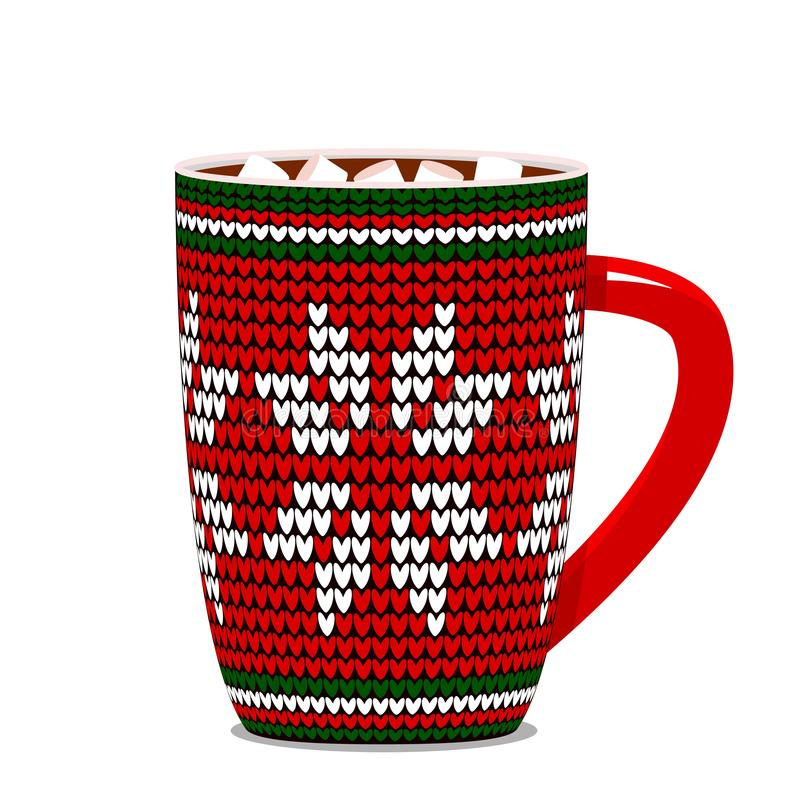 Gestrickte Schale mit einem skandinavischen Muster und eine heiße Schokolade und Eibische stock abbildung