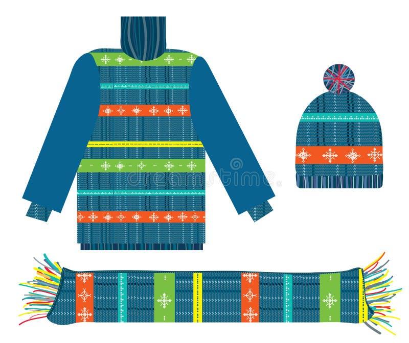 Gestrickte Strickjacke, Schal und Hut für Weihnachten lizenzfreie abbildung