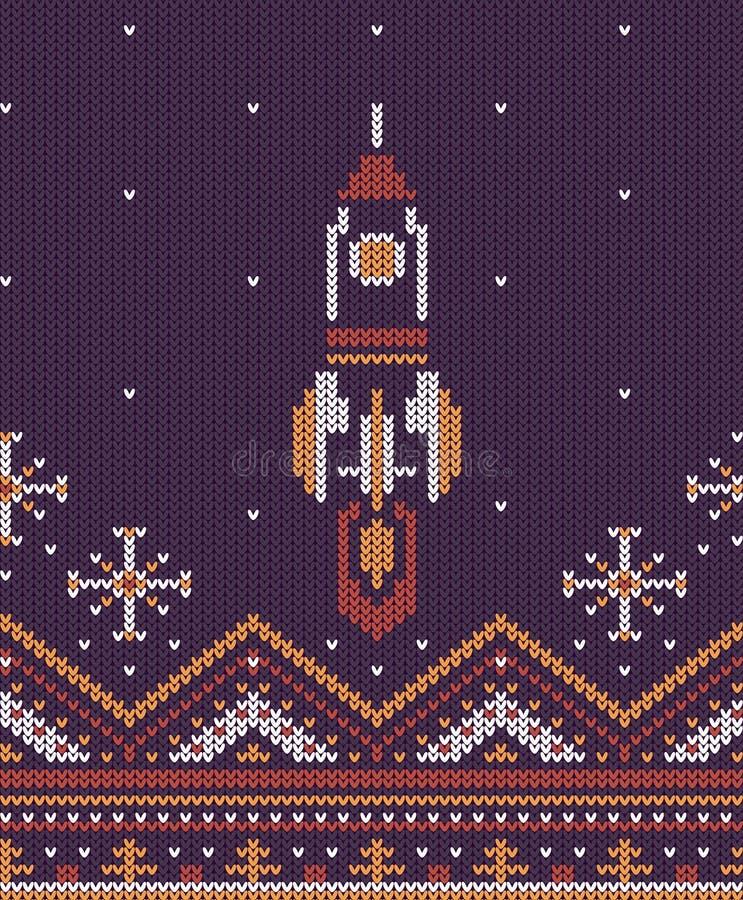 Gestricktes Fliegen herauf Rakete stock abbildung