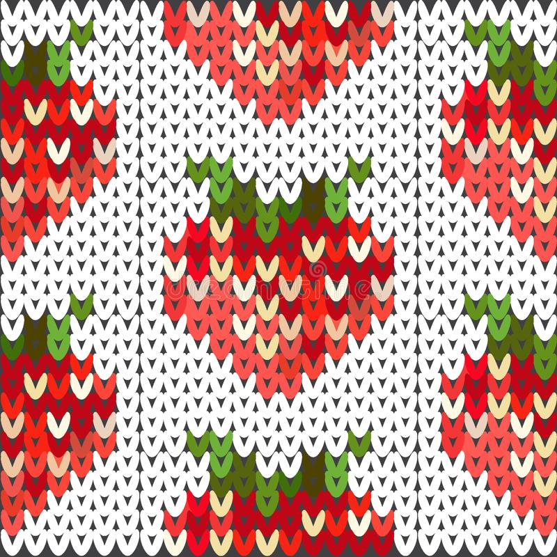 Gestricktes Muster mit einem Bild von roten Erdbeeren stockfotografie