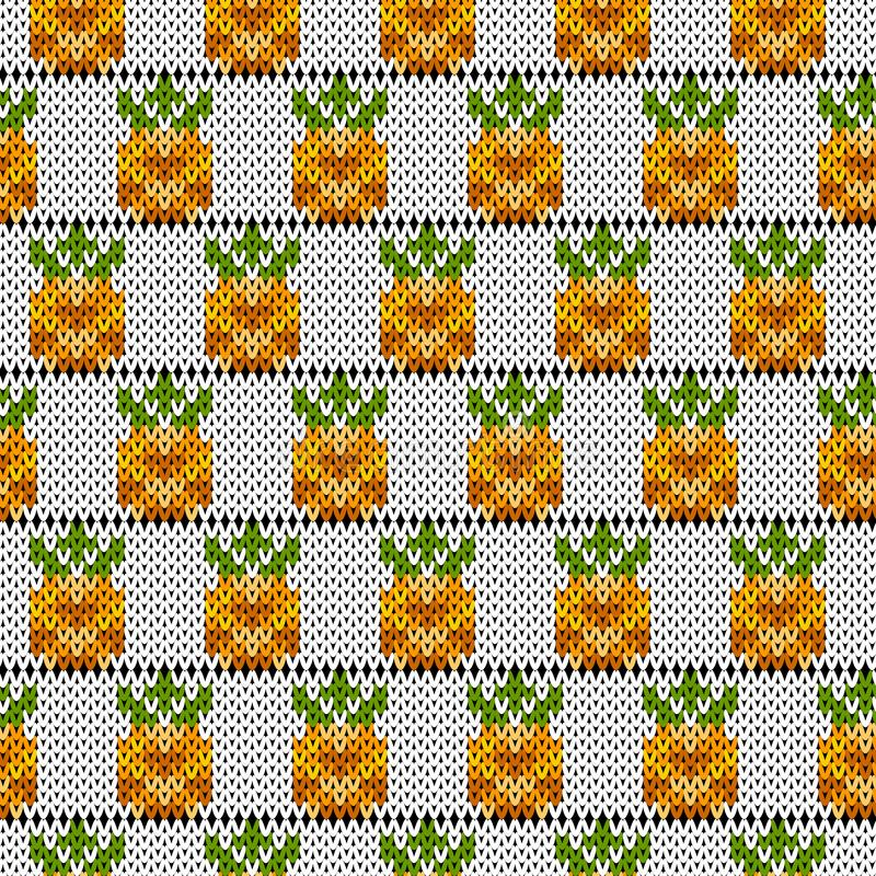 Gestricktes Muster mit tropischen Ananas stockfotografie