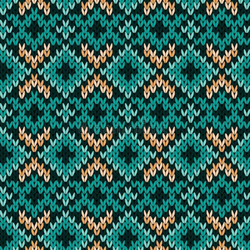 Gestricktes nahtloses Muster hauptsächlich im Türkis stock abbildung
